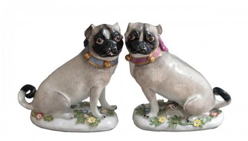 Pugs in Meissen porcelain (Saxony, Germany), circa 1745