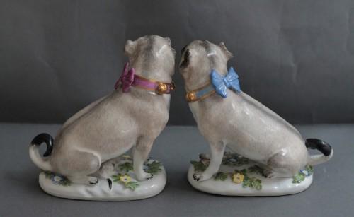 Pugs in Meissen porcelain (Saxony, Germany), circa 1745 - Louis XV