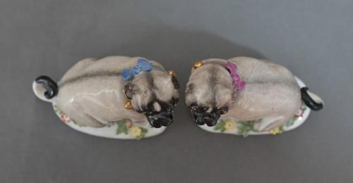 Antiquités - Pugs in Meissen porcelain (Saxony, Germany), circa 1745