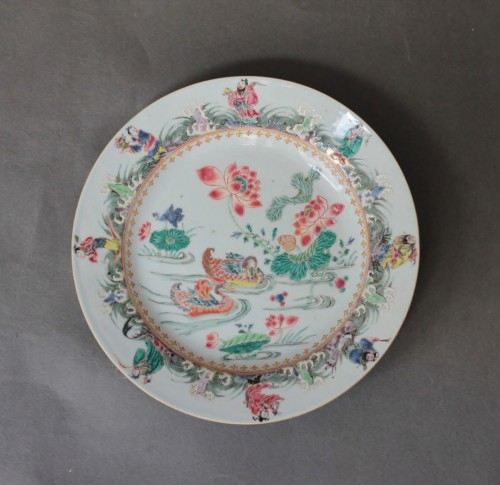 Louis XV - China porcelain, plate with mandarins ducks, Qianlong period, 18th century.