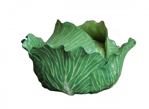 Cabbage in faience of Strasbourg, circa 1750.