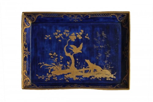 """Sevres porcelain tray with lapis blue background and """"the crow and the fox"""""""