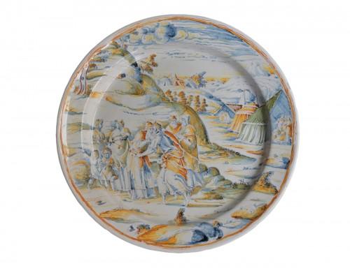 """Faenza dish """"a compendario"""" Jacob and Esau, Maestro di panneggi, circa 1585"""