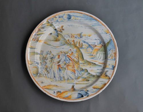 "Faenza dish ""a compendario"" Jacob and Esau, Maestro di panneggi, circa 1585 - Porcelain & Faience Style Renaissance"