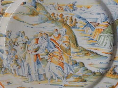 "Porcelain & Faience  - Faenza dish ""a compendario"" Jacob and Esau, Maestro di panneggi, circa 1585"