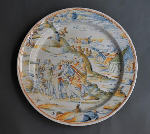 <= 16th century - Faenza dish &quot;a compendario&quot; Jacob and Esau, Maestro di panneggi, circa 1585