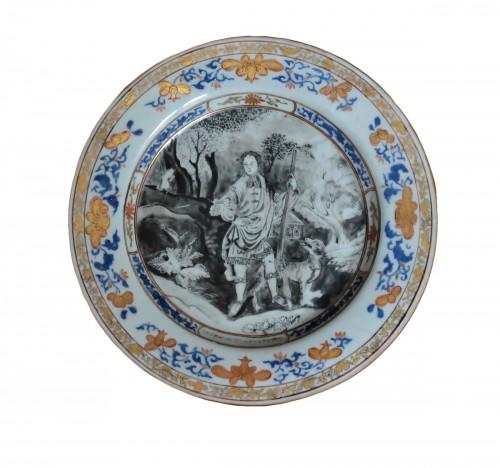 """Plate China Compagnie des Indes """"petrus de Wolff"""", circa 1740"""