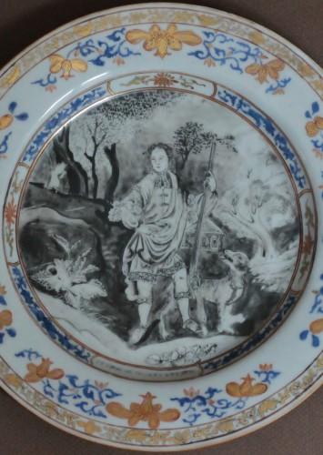 """Plate China Compagnie des Indes """"petrus de Wolff"""", circa 1740 - Porcelain & Faience Style Louis XV"""