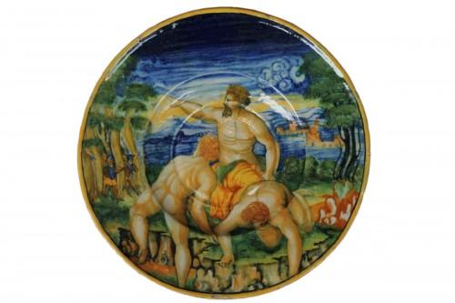 "Tondino en majolique d'Urbino à décor ""a istoriato"" vers 1535-1545."