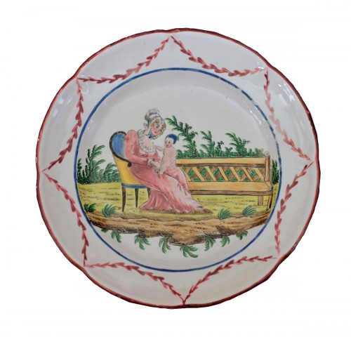 Plate in faience of Les Islettes, workshop of Dupré, beginning of the 19th.