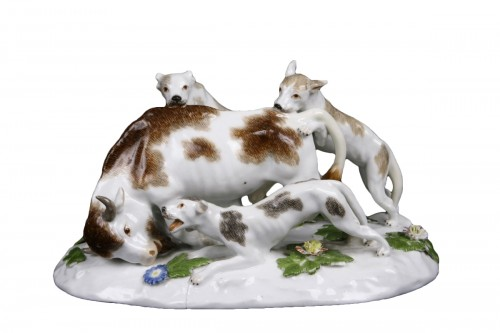Meissen group representing a hunting scene, circa 1745.