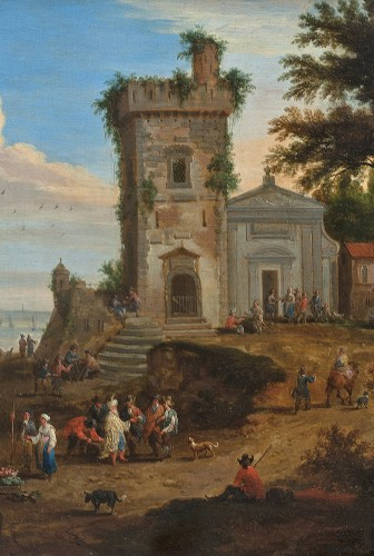Mediterranean port with many figures - Adrian Frans BOUDEWYNS & Peter BOUTS - Paintings & Drawings Style