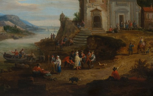 Paintings & Drawings  - Mediterranean port with many figures - Adrian Frans BOUDEWYNS & Peter BOUTS