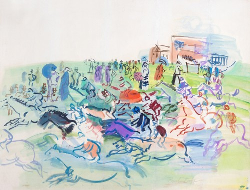 Raoul DUFY (1877- 1953) - The races at Epson - Paintings & Drawings Style