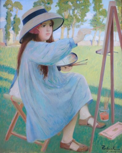 Gustave POETZSCH (1870 - 1950)  - The  painter's daughter at his easel