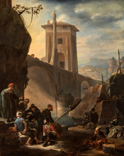 Johannes LINGELBACH (1622 - 1674) - Merchants and walkers near the gate of a city