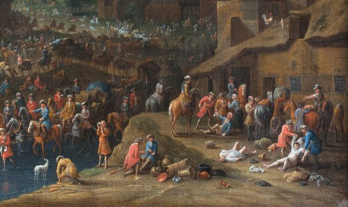Karel BREYDEL (1678 - 1733) - The convoy halt (A pair) - Paintings & Drawings Style