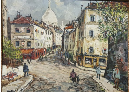 Robert L.P. LAVOINE ( 1916 - 1999) -  Rue Norvins in Montmartre