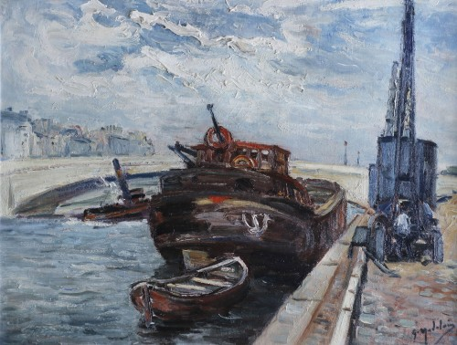 Gustave MADELAIN (1867-1944) - Barge at Pont de Bercy  in Paris
