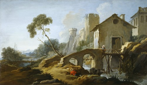 François BOUCHER  ( 1703-1770) - Country with the little bridge