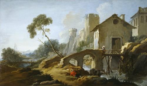 François BOUCHER  ( 1703-1770) - Country with the little bridge