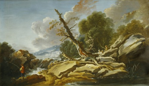 François BOUCHER  ( 1703-1770) - Country with the little bridge - Paintings & Drawings Style