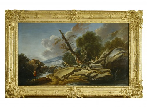 Paintings & Drawings  - François BOUCHER  ( 1703-1770) - Country with the little bridge