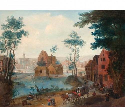 Caleches at the entrance of a village - Joseph BREDAEL (1688- 1739)