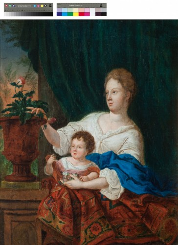 Young woman and her child - Gaspar NETSCHER (1639 - 1684) - Paintings & Drawings Style