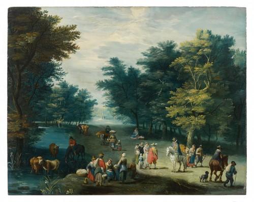 Joseph Van BREDAEL (1688 - 1739) - Landscape with figures - Paintings & Drawings Style