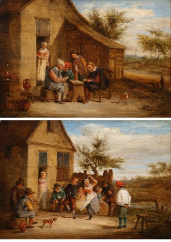 Village feast & Card players - David TENIERS III