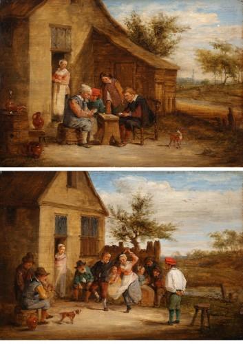Village feast & Card players - David TENIERS III