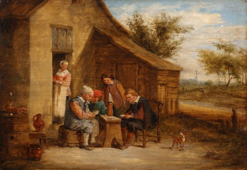 Village feast & Card players - David TENIERS III - Paintings & Drawings Style