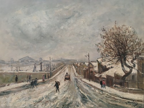 Gustave MADELAIN  (1867 - 1944) - Snow in St Ouen near Paris