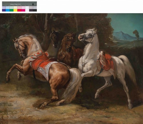 Hippolyte LECOMTE ( 1781 - 1857) - Hussar horses in a forest - Paintings & Drawings Style