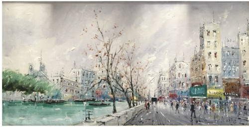 Léon Luis ALVAREZ ( 1929 - 1997) - The quays in Paris in font of Notre Dame