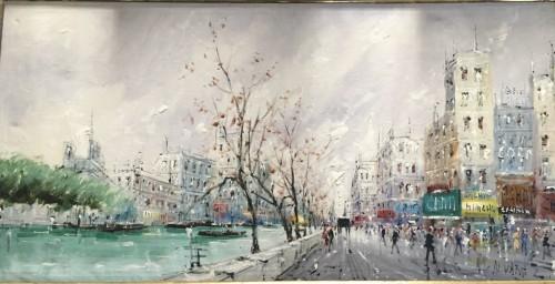 Léon Luis ALVAREZ ( 1929 - 1997) - The quays in Paris in font of Notre Dame - Paintings & Drawings Style
