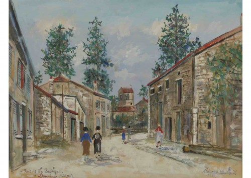 Maurice Utrillo (1883-1955) - Walkers in the street of the basilique in Domremy