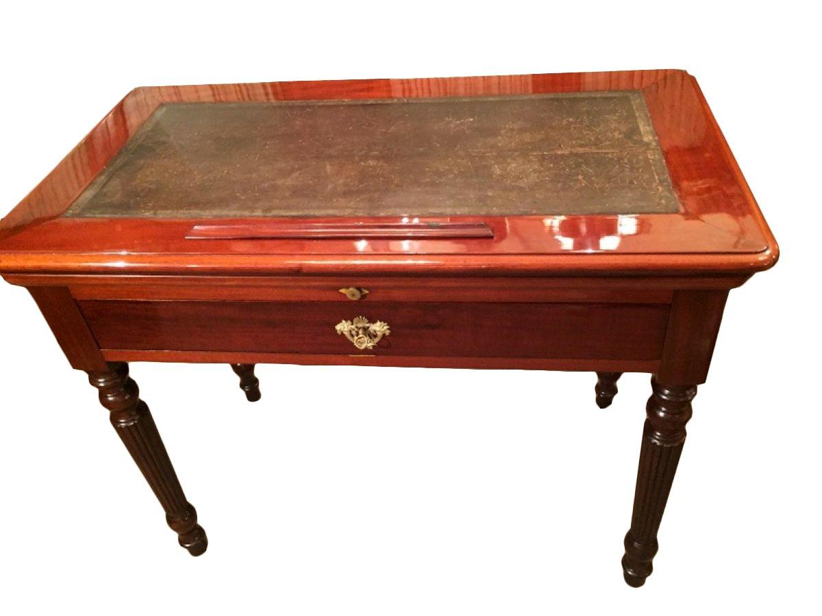 table à la tronchin en acajou, époque restauration - xixe siècle