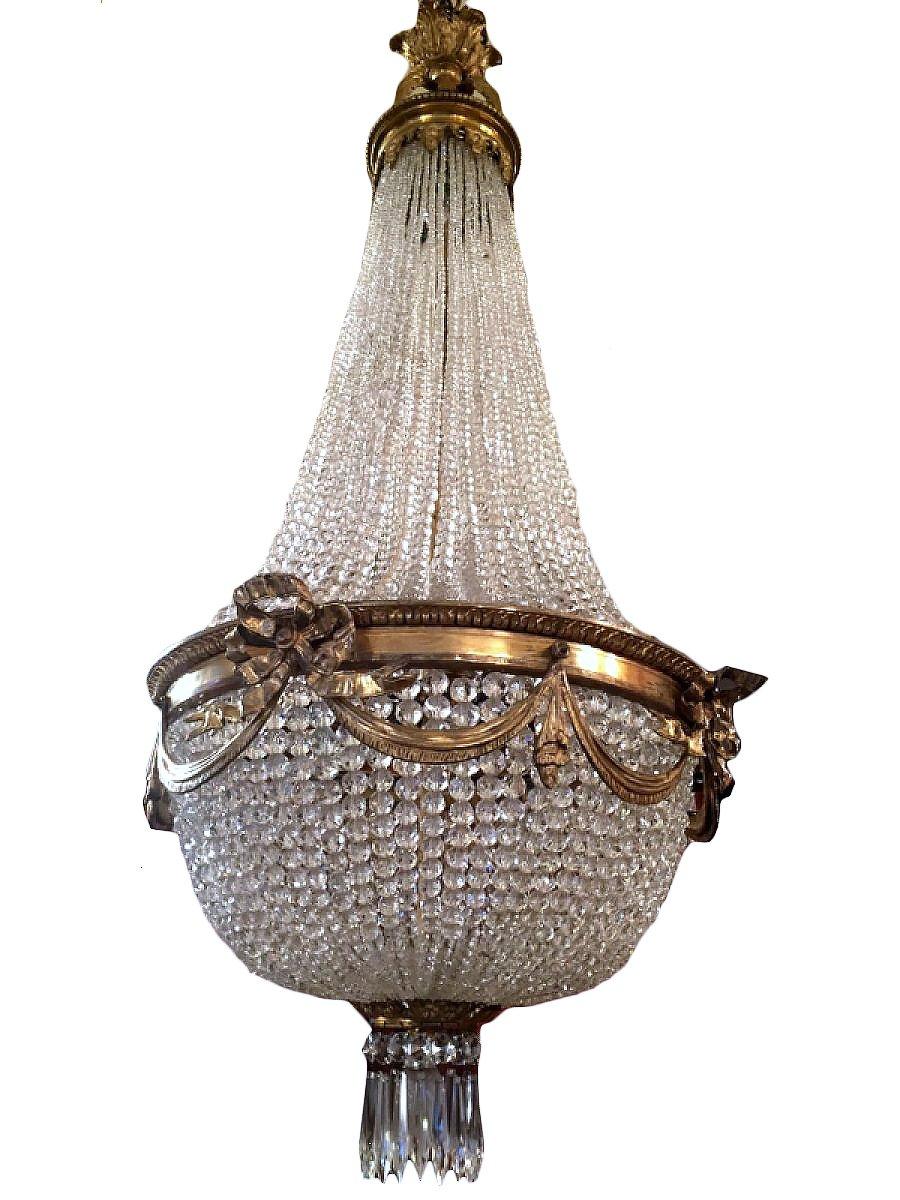 lustre montgolfi re en bronze et cristal xixe si cle. Black Bedroom Furniture Sets. Home Design Ideas