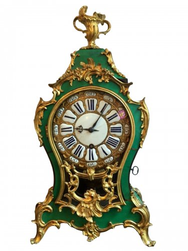 French Louis XV green horn cartel clock