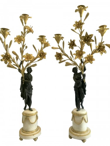 Pair of bronze and marble Louis XVI candlesticks
