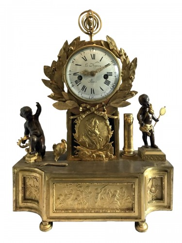 French Louis XVI gilt bronze clock