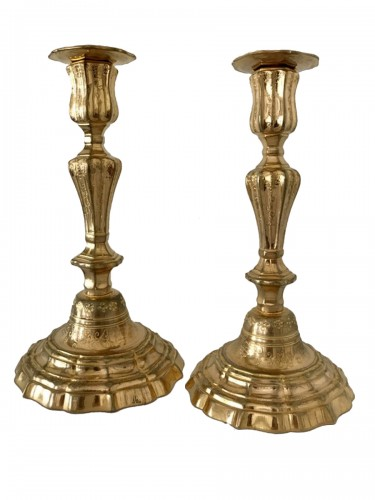 French Pair of gilt bronze candlesticks
