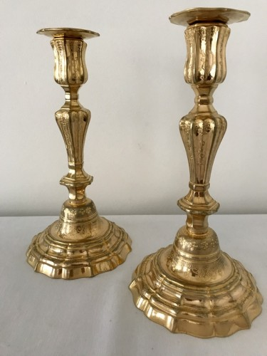 French Pair of gilt bronze candlesticks - Lighting Style