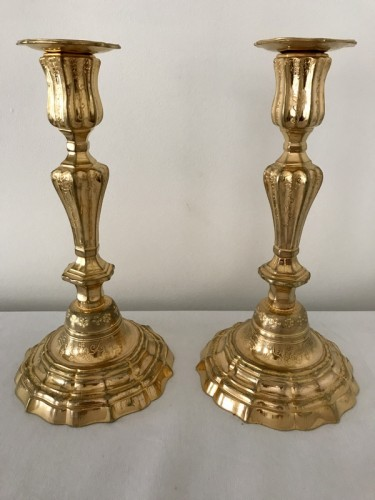 French Pair of gilt bronze candlesticks -