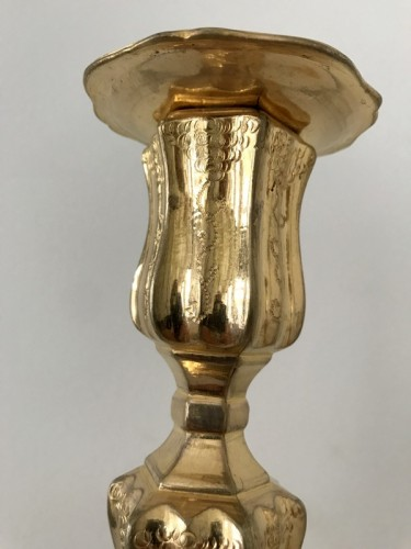 Antiquités - French Pair of gilt bronze candlesticks