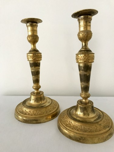 Pair of Louis XVI bronze candlesticks - Lighting Style Louis XVI