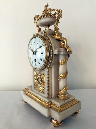 Clocks  - French Louis XVI bronze and marble mantel clock