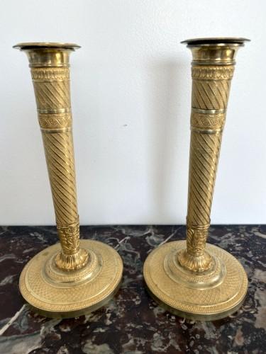 Pair of Empire gilt bronze candlesticks - Lighting Style Empire